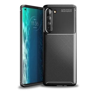 Olixar Carbon Fibre Motorola Edge Case - Black