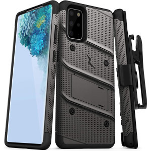 Equip your Samsung Galaxy S20 Plus with military-grade protection and superb functionality with the ultra-rugged Bolt case in Grey from Zizo. Coming complete with a handy belt clip and integrated kickstand.