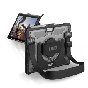 The UAG Plasma semi-transparent tough case in ice for the Microsoft Surface Go 2 provides the ultimate level of protection for your Surface Go 2 while remaining stylish. Featuring a rotating hand strap, shoulder strap and retractable stand.