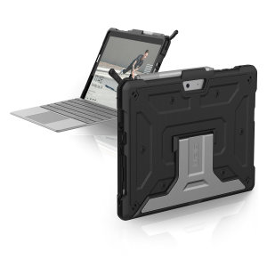 The UAG Metropolis series Rugged Folio Case in black keeps your Microsoft Surface Go 2 protected with a lightweight, but highly protective honeycomb composite interior, with a tougher outer case, ensuring the perfect combination of style and security.