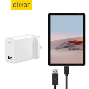Charge your Microsoft Surface Go 2 and any other USB device quickly and conveniently with this olixar compatible 2.5A high power USB-C UK charging kit. Featuring a UK wall adapter and a 1m USB-C cable.