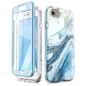 i-Blason Cosmo iPhone 7 / 8 Slim Case & Screen Protector - Marble Blue