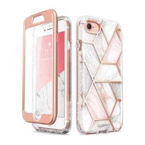 i-Blason Cosmo iPhone SE 2020 Slim Case & Screen Protector - Marble