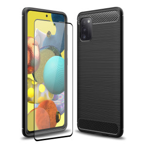 Flexible rugged casing with a premium matte finish non-slip carbon fibre and brushed metal design, the Olixar Sentinel case in black keeps your Samsung Galaxy A51 5G protected from 360 degrees with the added bonus of a tempered glass screen protector.
