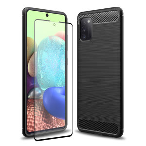Flexible rugged casing with a premium matte finish non-slip carbon fibre and brushed metal design, the Olixar Sentinel case in black keeps your Samsung Galaxy A71 5G protected from 360 degrees with the added bonus of a tempered glass screen protector.