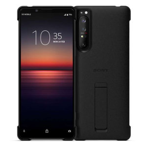 The Official Sony Style Cover Case with Kickback stand for the Sony Xperia 1 II in Black has shock absorbing technology specifically incorporated to protect the device from impacts from any angle. This case allows you to view your phone handsfree.