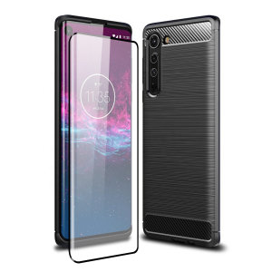 Flexible rugged casing with a premium matte finish non-slip carbon fibre and brushed metal design, the Olixar Sentinel case in black keeps your Motorola Edge protected from 360 degrees with the added bonus of a tempered glass screen protector.