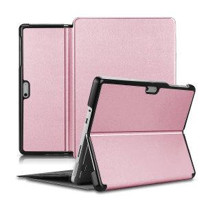 Olixar Leather-style Microsoft Surface Go 2 Folio Stand Case Rose Gold