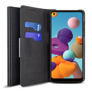 The Olixar leather-style Samsung A21 Wallet Case in black attaches to the back of your phone to provide superb enclosed protection and can also be used to hold your credit cards. So you can leave your other wallet home as this case has it all covered.