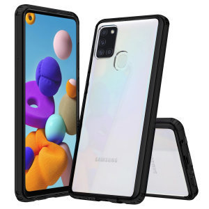 Custom moulded for the Samsung Galaxy A21s. This black Olixar ExoShield tough case provides a slim fitting stylish design and reinforced corner shock protection against damage, keeping your device looking great at all times.