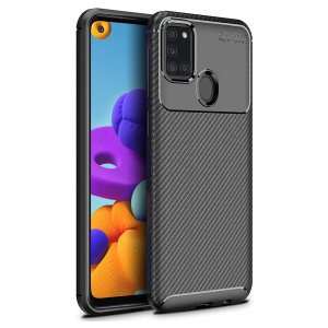Olixar Carbon Fibre case is a perfect choice for those who need both the looks and protection! A flexible TPU material is paired with an eye-catching carbon print to make sure your Samsung Galaxy A21s is well-protected and looks good in any setting.