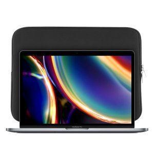 "The black Olixar universal neoprene sleeve is a slim, form-fitting and extremely durable case for your Macbook Pro 13"" 2020 laptop. With a unique, sleek and stylish design."