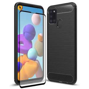 Flexible rugged casing with a premium matte finish non-slip carbon fibre and brushed metal design, the Olixar Sentinel case in black keeps your Samsung Galaxy A21s protected from 360 degrees with the added bonus of a tempered glass screen protector.