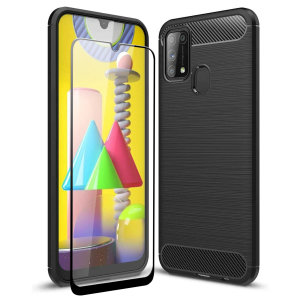Flexible rugged casing with a premium matte finish non-slip carbon fibre and brushed metal design, the Olixar Sentinel case in black keeps your Samsung Galaxy M31 protected from 360 degrees with the added bonus of a tempered glass screen protector.
