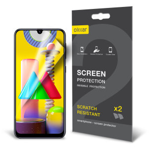 Keep your Samsung Galaxy M31 screen in pristine condition with this Olixar scratch-resistant film screen protector 2-in-1 pack.
