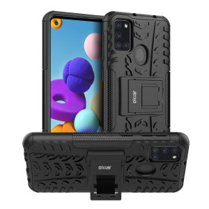 Protect your Samsung Galaxy A21s from bumps and scrapes with this black ArmourDillo case from Olixar. Comprised of an inner TPU case and an outer impact-resistant exoskeleton, with a built-in viewing stand.