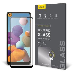 Olixar Samsung Galaxy A21s Tempered Glass Screen Protector - Black