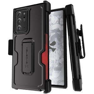 The Samsung Galaxy Note 20 Ultra Iron Armor 3 case in Black from Ghostek provides your Samsung Galaxy Note 20 Ultra with fantastic all-around protection. Includes a card slot for added convenience. Compatible with 4G and 5G variants.
