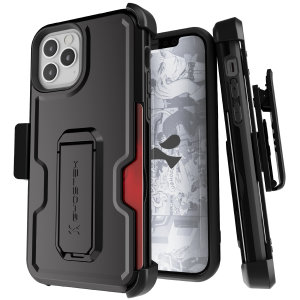 The iPhone 12 Iron Armor 3 case in Black from Ghostek provides your iPhone 12 Max with fantastic all-around protection. Includes a card slot for added convenience.