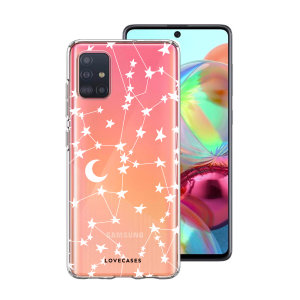 Take your Samsung Galaxy A71 to the next level with this starry design print phone case in white from LoveCases. Cute but protective, the ultra-thin case provides slim fitting and durable protection against life's little accidents.