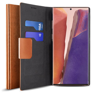 Protect your Samsung Galaxy Note 20 with this durable and stylish brown leather-style wallet case by Olixar. What's more, this case transforms into a handy stand to view media.