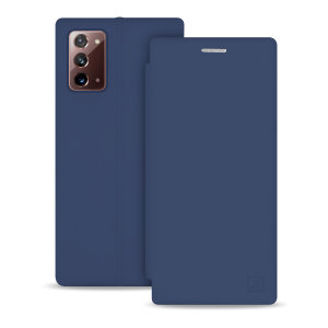 Custom moulded for the Samsung Note 20, this navy blue soft silicone flip case from Olixar provides excellent protection against damage as well as a slimline fit. Additionally, this case transforms into a stand to view media and includes a card slot.