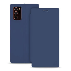 Custom moulded for the Note 20 Ultra 4G/5G, this navy blue soft silicone flip case from Olixar provides excellent protection against damage as well as a slimline fit. Additionally, this case transforms into a stand to view media and includes a card slot