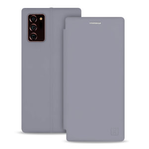 Custom moulded for the Samsung Note 20 Ultra 4G / 5G, this grey soft silicone flip case from Olixar provides excellent protection against damage as well as a slimline fit. This case transforms into a stand to view media and includes a card slot.