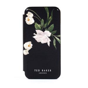 Ted Baker Elderflower iPhone 12 Anti-Shock Folio Case-Black/Silver