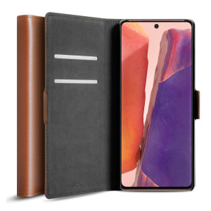 All the benefits of a wallet case but far more streamlined. The Olixar Genuine Leather case in brown is the perfect partner for the Samsung Galaxy Note 20 owner on the move. What's more, this case transforms into a handy stand to view media.