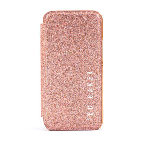 Ted Baker Folio Glitsie iPhone 12 mini Flip Mirror Case - Pink