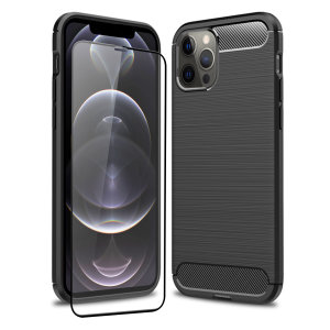 Flexible rugged casing with a premium matte finish non-slip carbon fibre and brushed metal design, the Olixar Sentinel case in black keeps your iPhone 12 Pro protected from 360 degrees with the added bonus of a tempered glass screen protector