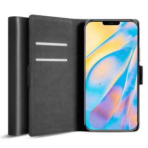 Olixar Genuine Leather iPhone 12 Wallet Case - Black