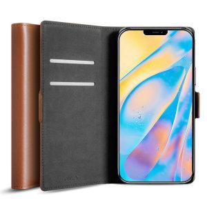 Olixar Genuine Leather iPhone 12 Wallet Case - Brown