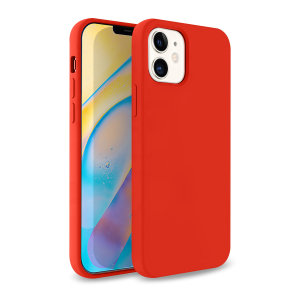Custom moulded for the iPhone 12 mini, this red soft silicone case from Olixar provides excellent protection against damage as well as a slimline fit for added convenience.