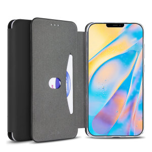 Custom moulded for the iPhone 12, this black soft silicone flip case from Olixar provides excellent protection against damage as well as a slimline fit. Additionally, this case transforms into a stand to view media and includes a card slot.