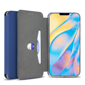 Custom moulded for the iPhone 12, this navy blue soft silicone flip case from Olixar provides excellent protection against damage as well as a slimline fit. Additionally, this case transforms into a stand to view media and includes a card slot.