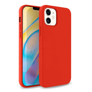 Custom moulded for the iPhone 12, this Red soft silicone case from Olixar provides excellent protection against damage as well as a slimline fit for added convenience.