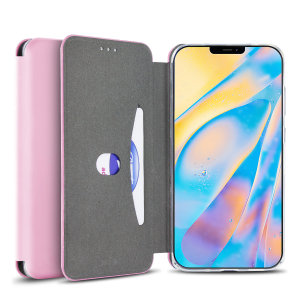 Custom moulded for the iPhone 12, this pastel pink soft silicone flip case from Olixar provides excellent protection against damage as well as a slimline fit. Additionally, this case transforms into a stand to view media and includes a card slot.