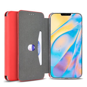 Custom moulded for the iPhone 12, this red soft silicone flip case from Olixar provides excellent protection against damage as well as a slimline fit. Additionally, this case transforms into a stand to view media and includes a card slot.