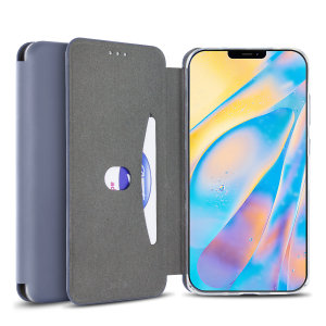 Custom moulded for the iPhone 12, this grey soft silicone flip case from Olixar provides excellent protection against damage as well as a slimline fit. Additionally, this case transforms into a stand to view media and includes a card slot.