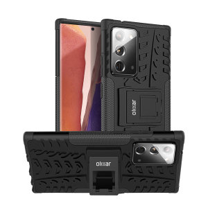 Protect your Samsung Note 20 from bumps and scrapes with this black ArmourDillo case. Comprised of an inner TPU case and an outer impact-resistant exoskeleton, the Armourdillo not only offers sturdy and robust protection, but also a sleek modern styling.