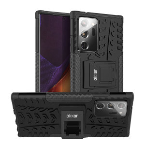 Protect your Note 20 Ultra 4G /5G from bumps and scrapes with this black ArmourDillo case. Comprised of an inner TPU case and an outer impact-resistant exoskeleton, it not only offers sturdy and robust protection, but also a sleek modern styling.
