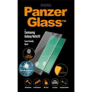 Introducing the premium range PanzerGlass glass screen protector in black. Designed to be shock and scratch resistant, offering the ultimate protection. This screen protector is case friendly, allows fingerprint reading and is anti-blue light.