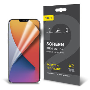 Keep your iPhone 12 Pro screen in pristine condition with this Olixar scratch-resistant film screen protector 2-in-1 pack.