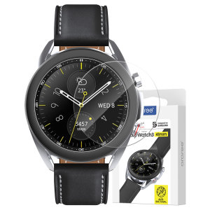 Protect your Samsung Galaxy Watch 3 41mm with this  Araree Glass Screen Protector. With an oleophobic coating this protector is scratch and fingerprint resistant protecting the face of your watch from drops, bumps and impacts.
