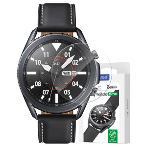 Protect your Samsung Galaxy Watch 3 45mm with this  Araree Glass Screen Protector. With an oleophobic coating this protector is scratch and fingerprint resistant protecting the face of your watch from drops, bumps and impacts.