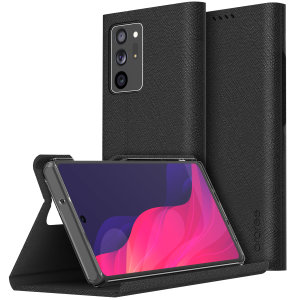 Protect your Samsung Note 20 Ultra 4G/5G with the Araree Bonnet Stand Case in Black. With premium Saffiano leather, magnetic closure & completely shock proof, this case provides all round 360° protection in style with added convenience of a viewing stand