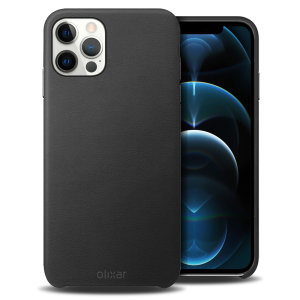 Olixar Genuine Leather iPhone 12 Pro Max Case - Black
