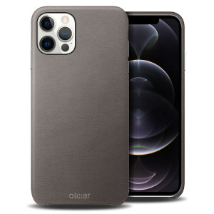 Olixar Genuine Leather iPhone 12 Pro Case - Grey